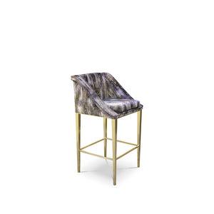 sedia alta classica / imbottita / con poggiapiedi / in tessuto