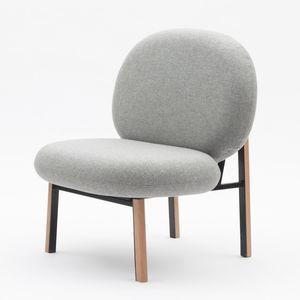 chauffeuse moderna / in tessuto / in quercia / in metallo