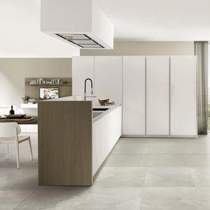 cucina moderna / impiallacciata in legno / in vetro / in alluminio