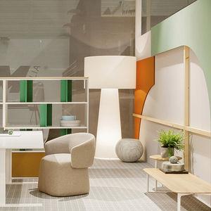 lampada da terra / design originale / in vetro / in tessuto