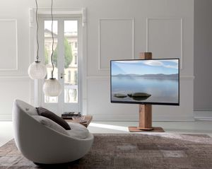 supporto per TV da terra moderno / girevole / in legno
