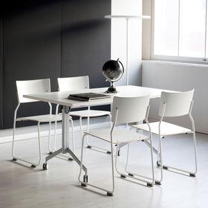 tavolo da lavoro moderno / in laminato / rettangolare / tondo