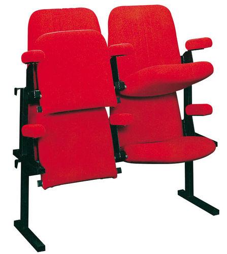 poltrona per auditorium moderna / in tessuto / pieghevole / rossa