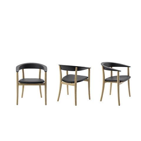 sedia moderna / in legno / in pelle