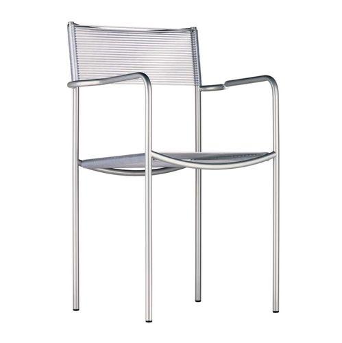 sedia da ristorante moderna / con braccioli / impilabile / a slitta
