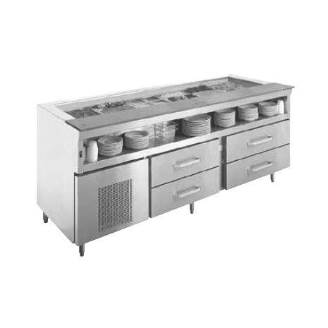 tavolo di preparazione in acciaio inossidabile / refrigerato / con contenitore