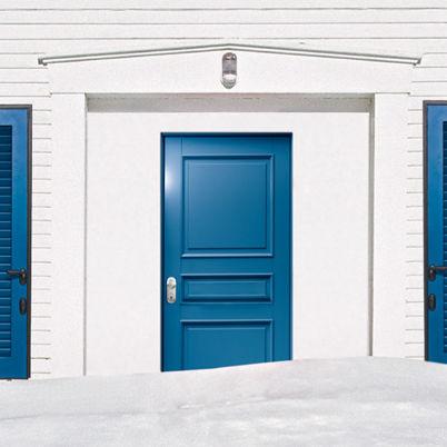 porta d'ingresso / battente / in acciaio / in PVC