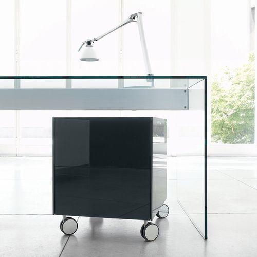 cassettiera per ufficio in vetro laccato / 2 cassetti / design originale
