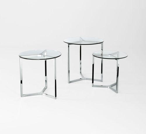 tavolo d'appoggio moderno / in vetro / in alluminio / in acciaio inossidabile