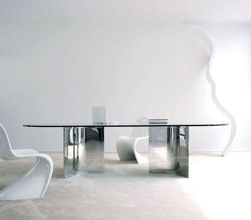 tavolo da riunione moderno / in vetro / in alluminio / in acciaio inossidabile