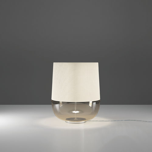 Lampada Da Tavolo Dome De Majo Illuminazione In Metallo Cromato In Vetro In Tessuto
