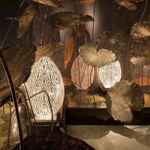 lampada da pavimento / design originale / in acciaio inossidabile / in cristallo