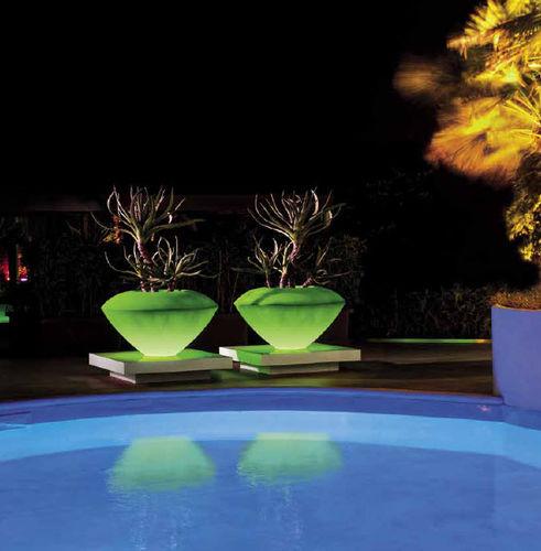 vaso da giardino in plastica / tondo / luminoso