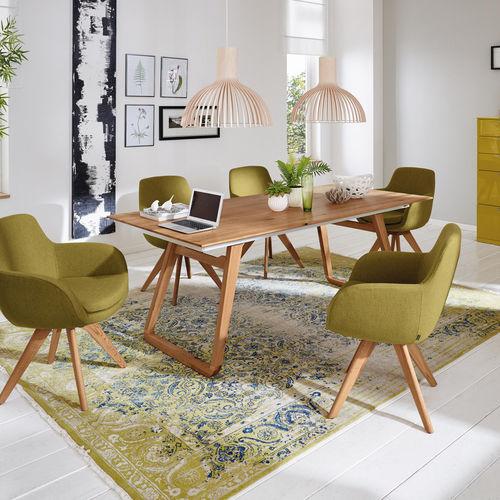 tavolo da pranzo moderno / in quercia / in acciaio / rettangolare