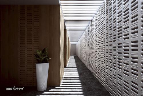 pannello decorativo in legno lamellare / per interni / perforato
