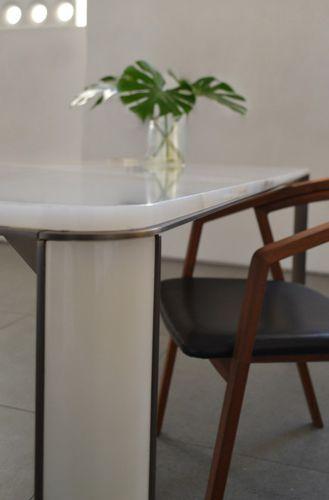 tavolo da pranzo moderno / in ottone / in onice / rettangolare