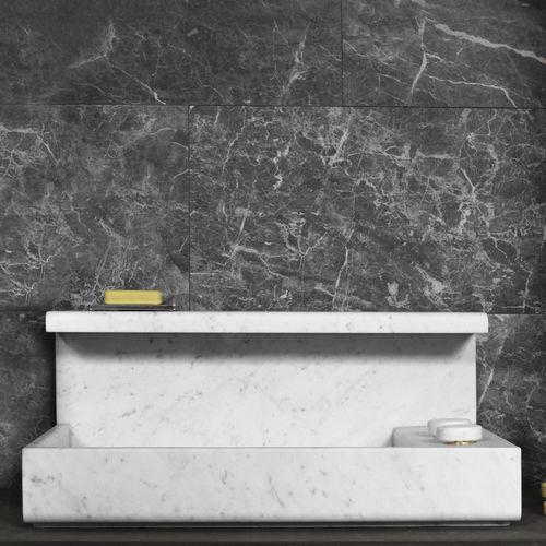 lavabo da appoggio / rettangolare / in marmo / design originale