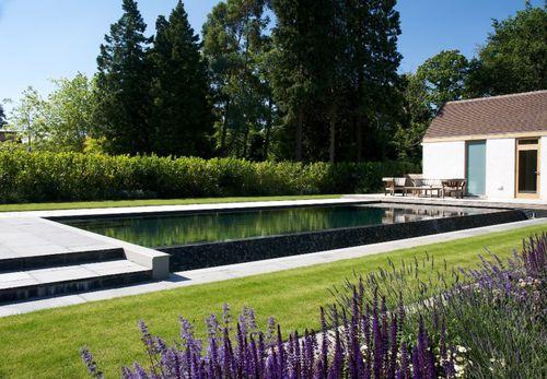 piscina interrata / in legno / in pietra calcarea / corridoio di nuoto