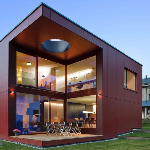 rivestimento di facciata in pannelli / in fibra di legno / liscio / laccato