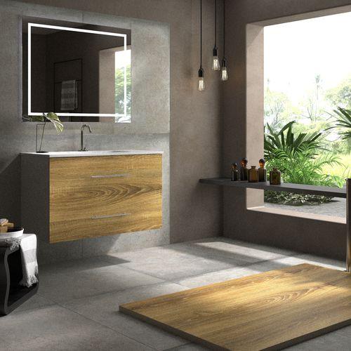 mobile lavabo sospeso / in quercia / moderno