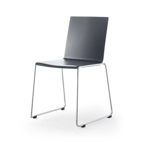 sedia visitatore moderna / impilabile / a slitta / in acciaio