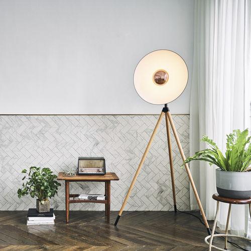 lampada da terra / moderna / in alluminio / in quercia