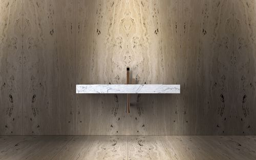 lavabo sospeso / rettangolare / in marmo / in pietra naturale