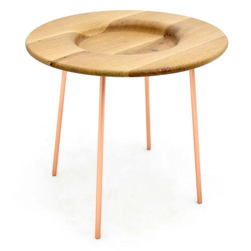 tavolo d'appoggio moderno / in frassino / in metallo laccato / tondo