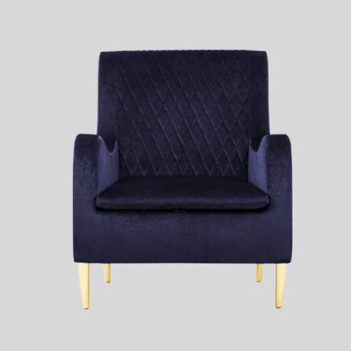poltrona classica / in tessuto / in legno / blu