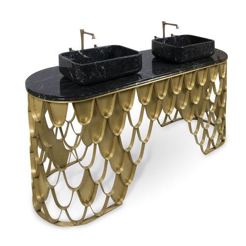 mobile lavabo doppio / da appoggio / in metallo / design