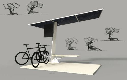 pensilina per biciclette in acciaio / con pannelli solari