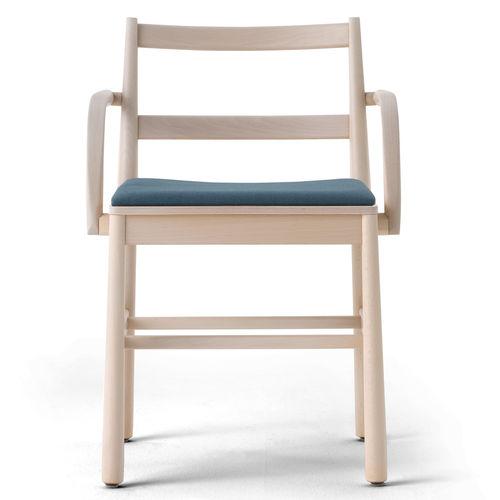 sedia design scandinavo / imbottita / con braccioli / in velluto