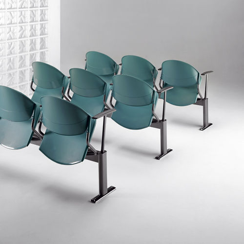 sedia da conferenza imbottito / con tavoletta / in metallo / in tessuto