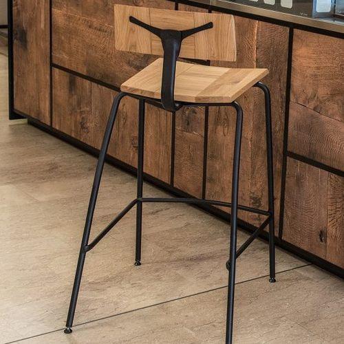 sgabello da bar moderno / in quercia / contract / con poggiapiedi