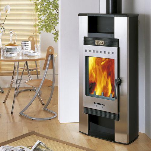stufa a legna / in acciaio inox / moderna / 0 - 5 kW