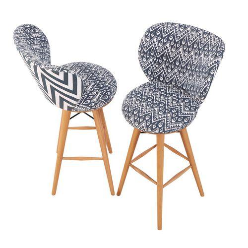 sedia alta classica / imbottita / in tessuto / in legno massiccio