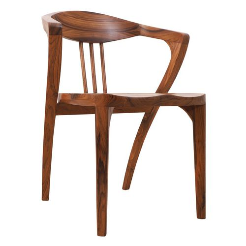 sedia classica / con braccioli / in teak / contract