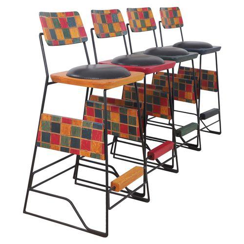 sedia alta classica / imbottita / con poggiapiedi / a slitta