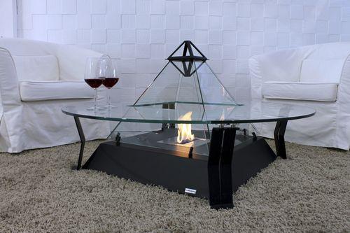 tavolino basso moderno / in metallo / in cristallo / tondo