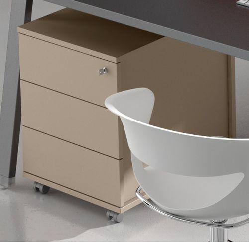 cassettiera per ufficio in metallo / in legno / in melamminico / 3 cassetti