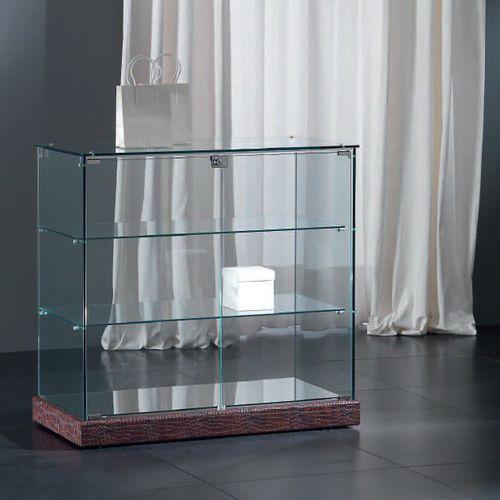 vetrina moderna / su piedistallo / in vetro / bassa