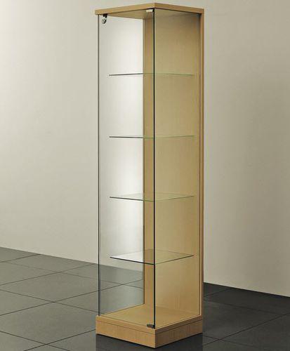 vetrina moderna / su piedistallo / in vetro / in legno
