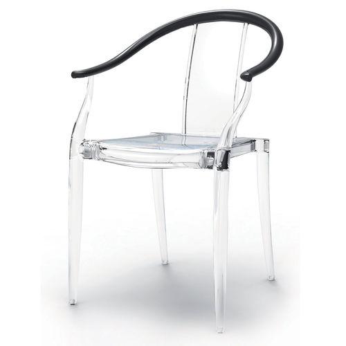 sedia visitatore moderna / con braccioli / in policarbonato / trasparente
