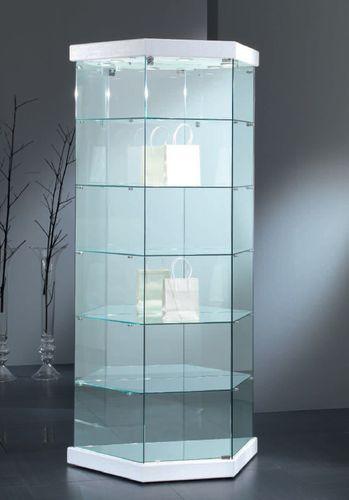 vetrina moderna / su piedistallo / in vetro / illuminata