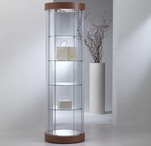 vetrina moderna / su piedistallo / in vetro / in quercia