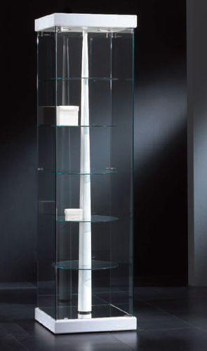 vetrina moderna / su piedistallo / in vetro / in legno laccato