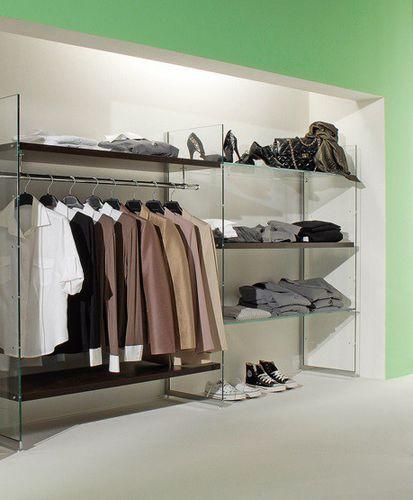espositore per abbigliamento / per calzature / in vetro / contract