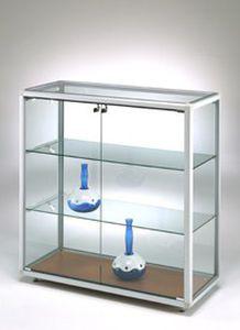vetrina moderna / su piedistallo / in vetro / in alluminio
