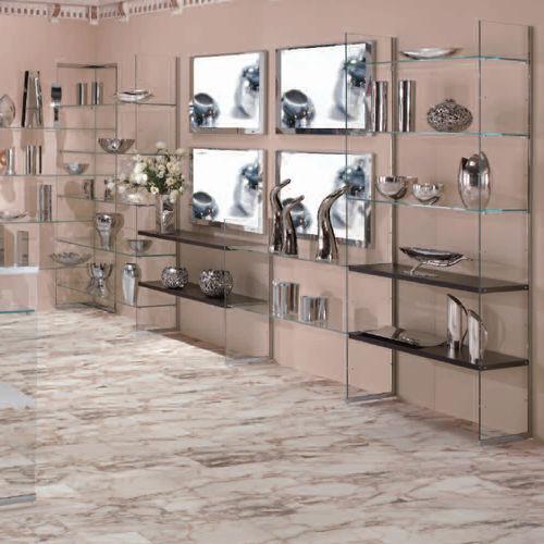 espositore da parete / multiuso / in legno / in vetro