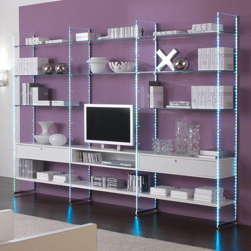 parete attrezzata TV moderno / in legno / in vetro / modulare
